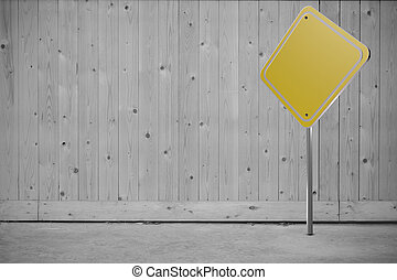 Blank road sign on wood background