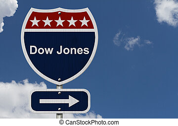 American Dow Jones Highway Road Sign, Red, White and Blue...