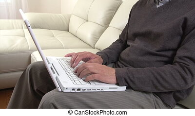 Man hands typing on laptop - Man hands typing on laptop...
