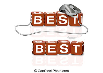 best search - red dices spelling the word best with or...