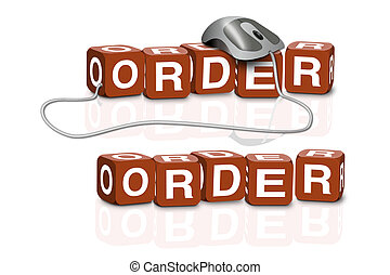 order on line - red dices spelling the word order with or...