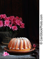 Orange cake sprinkled with powdered sugar - orange cake...