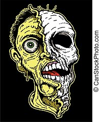 zombie - scary zombie head design used for horror signs or...