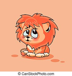 Lion cub confused - Vector Stock Illustration isolated Emoji...