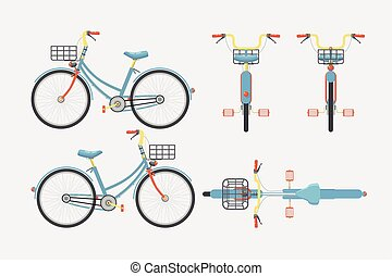 Bike one 1 - Set vector illustration isolated eco-friendly...