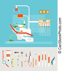 Dantist set room - Stock vector illustration set of dental...