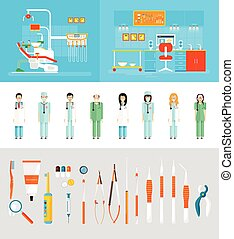 Dental office dentists - Stock vector illustration set of...