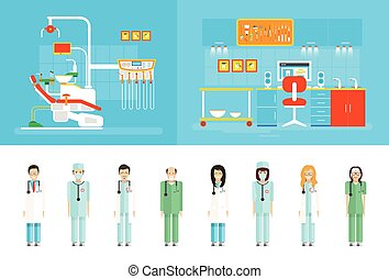 Dental office PC big set dentists - Stock vector...