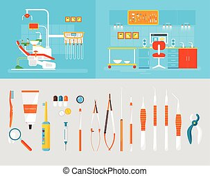 Dental office PC big set dentists instruments - Stock vector...