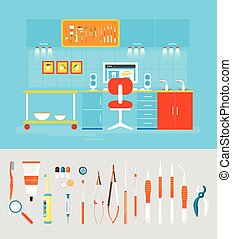Dental office PC set instruments - Stock vector illustration...