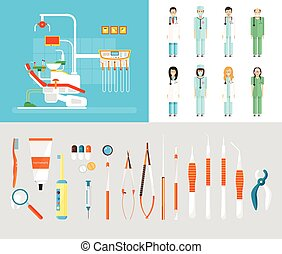 Dental office set dentists instruments - Stock vector...