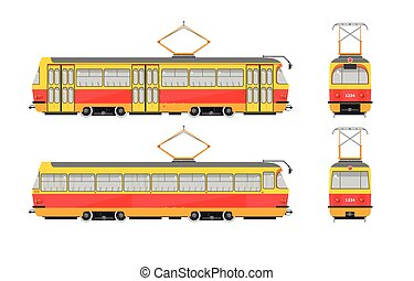 Tram number one - Set stock vector illustration isolated...