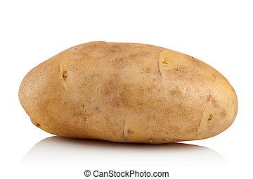 potato on white background - fresh raw potatoes on a white...