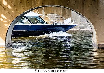 Cruise ship sailing under the bridge