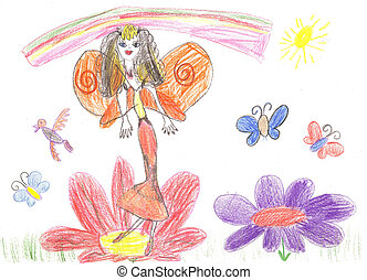 Child drawing fairy flying on a flower - Child drawing fairy...