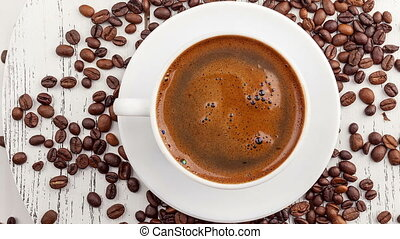 Morning coffee Coffee magic Roasted coffee beans