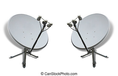 Communication concept two satellite antennas