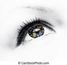 earth clock in eye
