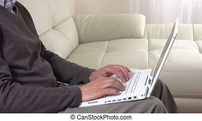 Man hands typing on laptop. - Man hands typing on laptop...