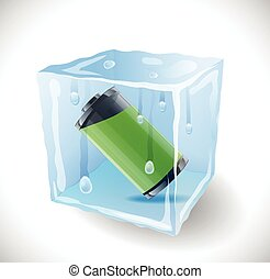 Ice cube with full battery Illustration 10 version
