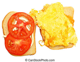 Scrambled Egg and Cheese Sandwhich Over White - Scrambled...