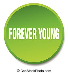 forever young green round flat isolated push button