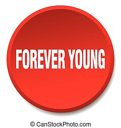 forever young red round flat isolated push button