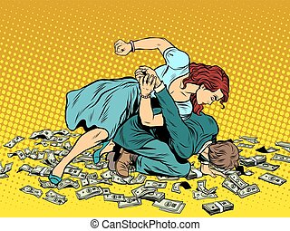 Woman beats man in fight for the money pop art retro style....