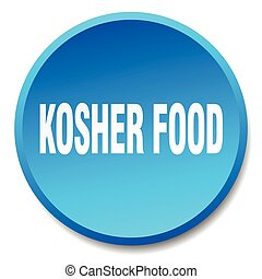 kosher food blue round flat isolated push button