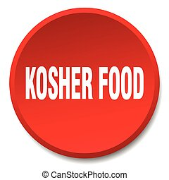 kosher food red round flat isolated push button