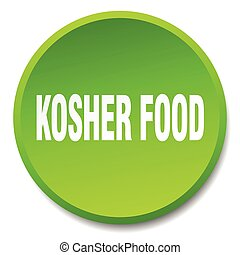 kosher food green round flat isolated push button