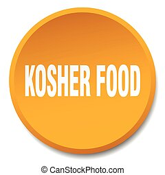 kosher food orange round flat isolated push button