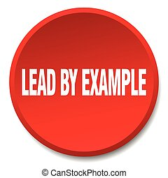 lead by example red round flat isolated push button
