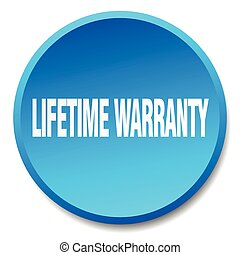 lifetime warranty blue round flat isolated push button