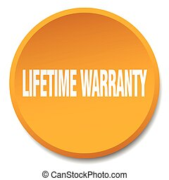 lifetime warranty orange round flat isolated push button