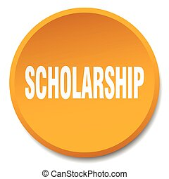 scholarship orange round flat isolated push button