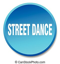 street dance blue round flat isolated push button