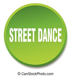 street dance green round flat isolated push button