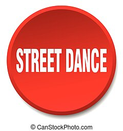 street dance red round flat isolated push button