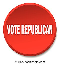 vote republican red round flat isolated push button