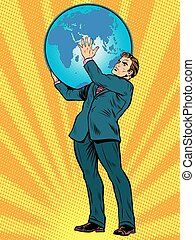 Businessman Titan Atlas holds the Earth
