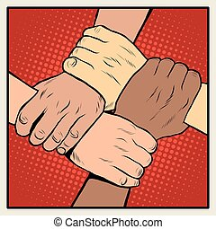 Handshake people of different nationalities and races pop...