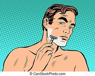 Man shaving foam pop art retro style Personal hygiene A man...