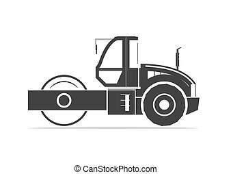 Silhouette of road roller Vector illustration