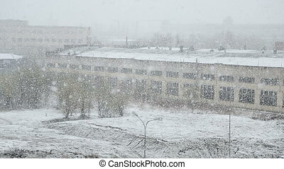 heavy snowfall on the background of long snow-covered hangar...