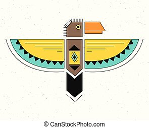 Linear logo thunderbird. - Native American Indian Symbol....