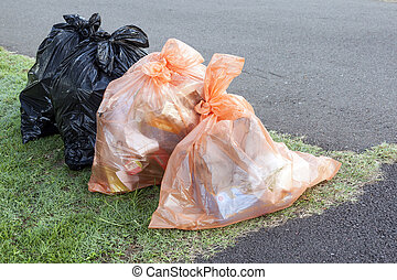 Garbage and Recycling Bags Ready for Collection