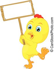 cute baby chicken cartoon with sign