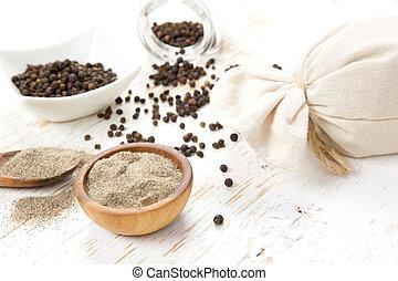 Black Pepper Heaps - Photo of bowls full of black pepper...