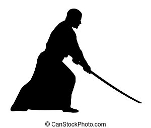 Aikido - Vector illustration of aikido techniques with sword...